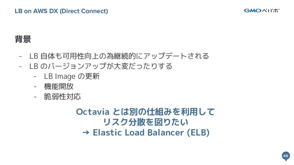 46 46 背景 LB on AWS DX (Direct Connect) - LB 自体も...