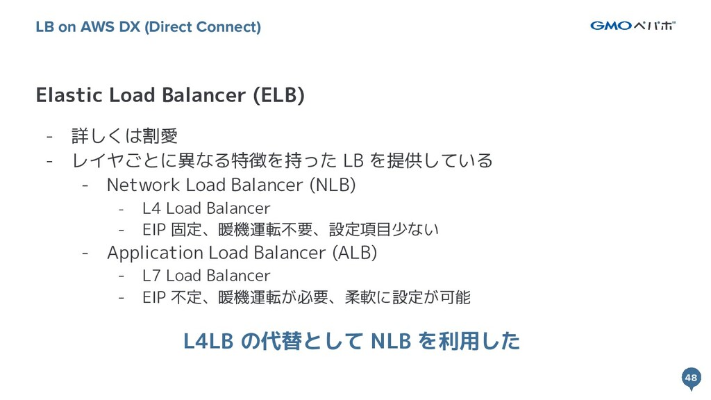 48 48 Elastic Load Balancer (ELB) LB on AWS DX ...