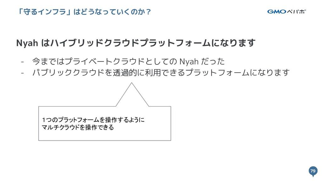 79 79 Nyah はハイブリッドクラウドプラットフォームになります 「守るインフラ」はどう...