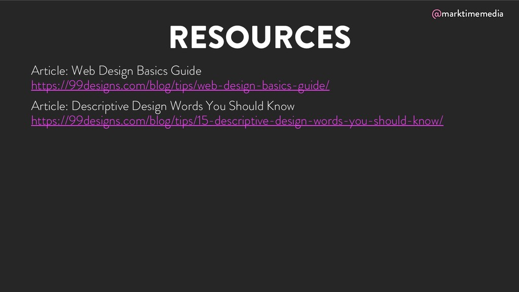 @marktimemedia RESOURCES Article: Web Design Ba...