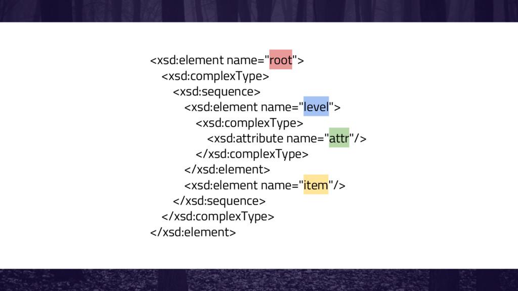 """<xsd:element name=""""root""""> <xsd:complexType> <xs..."""