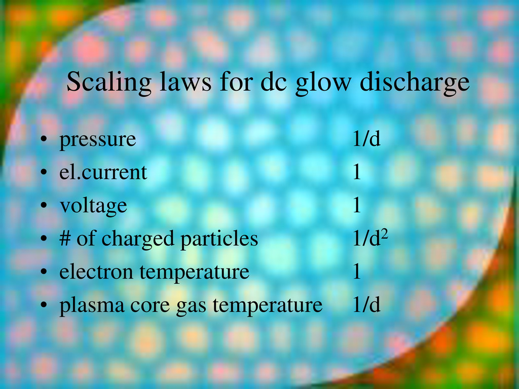 Scaling laws for dc glow discharge • pressure 1...