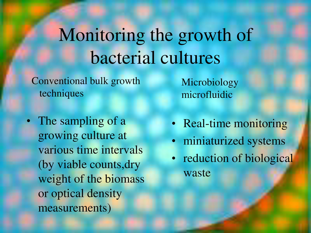 Monitoring the growth of bacterial cultures • T...