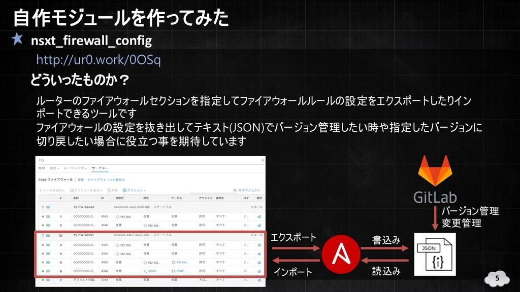 自作モジュールを作ってみた nsxt_firewall_config http://ur0.w...