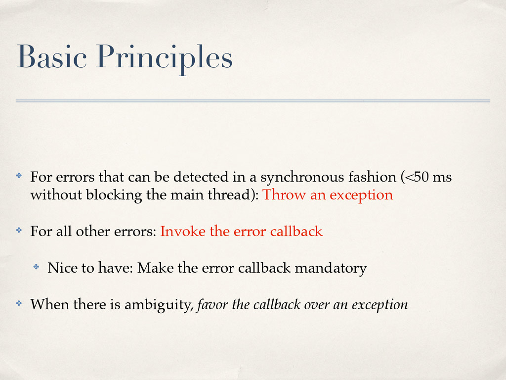Basic Principles ✤ For errors that can be detec...