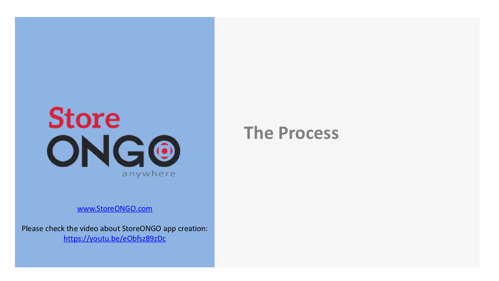 The Process www.StoreONGO.com Please check the ...