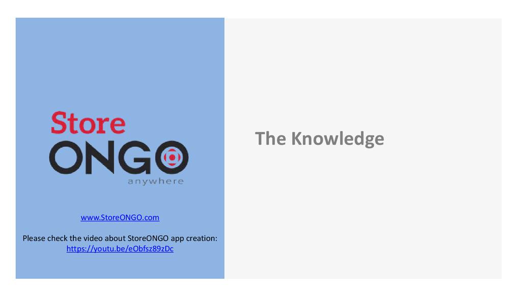 The Knowledge www.StoreONGO.com Please check th...