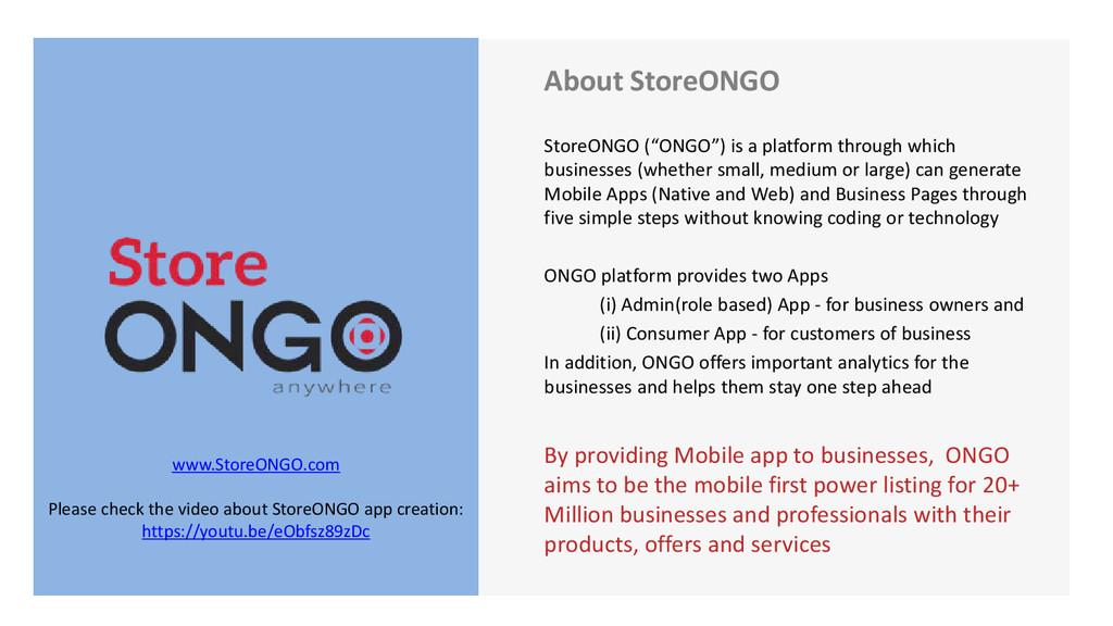 "About StoreONGO StoreONGO (""ONGO"") is a platfor..."
