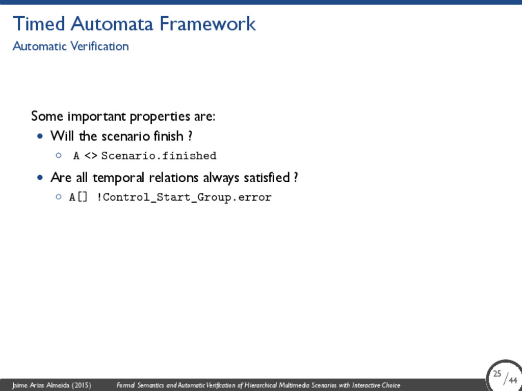 Timed Automata Framework Automatic Verification...