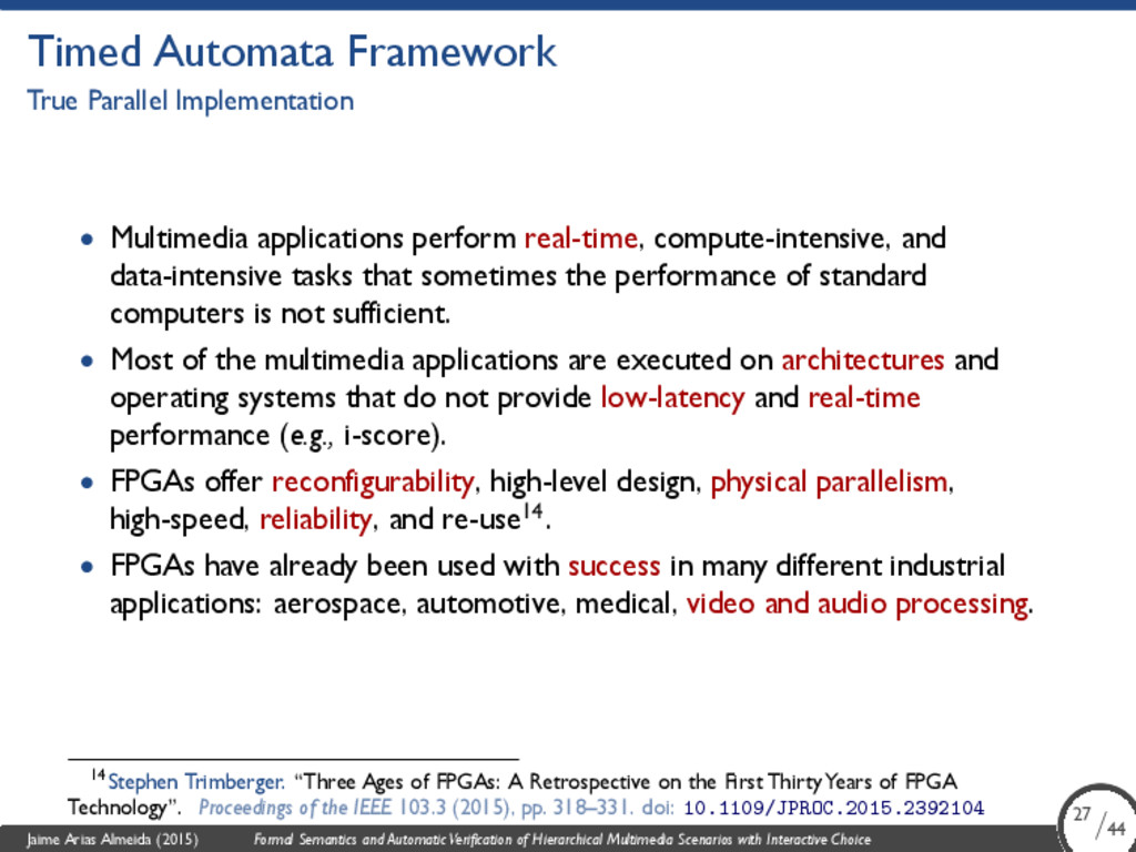 Timed Automata Framework True Parallel Implemen...