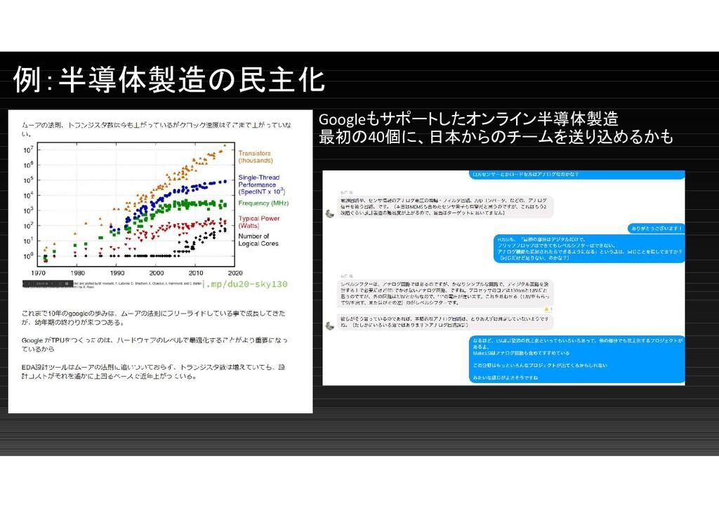 例:半導体製造の民主化 Googleもサポートしたオンライン半導体製造 最初の40個に、日本か...