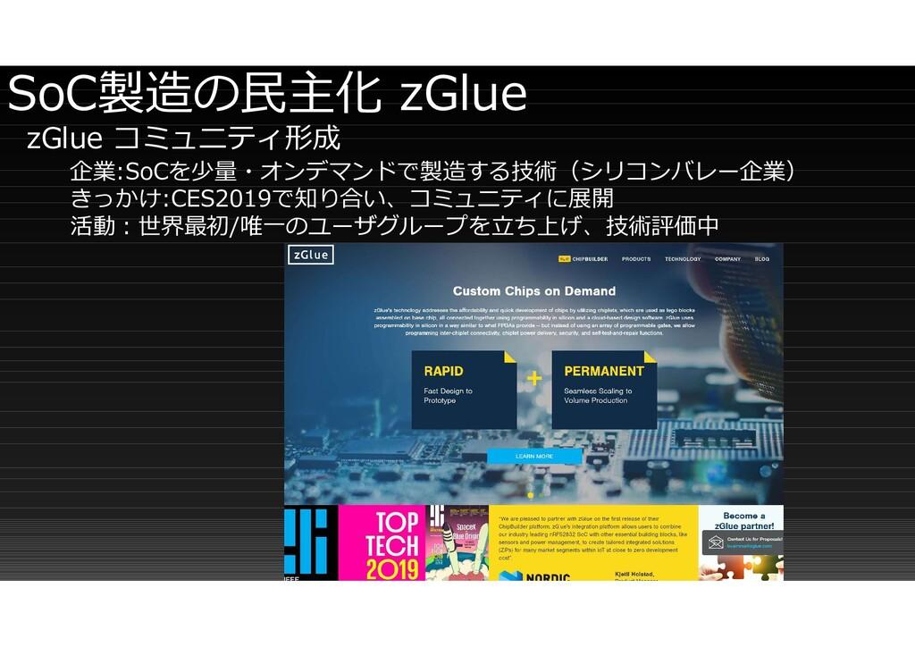 SoC製造の民主化 zGlue zGlue コミュニティ形成 企業:SoCを少量・オンデマンド...