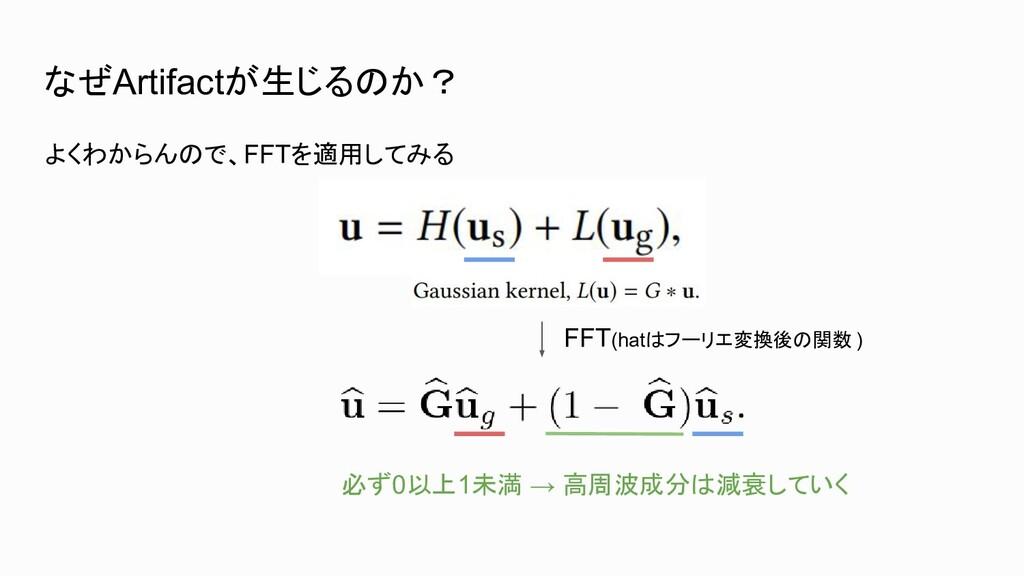 なぜArtifactが生じるのか? よくわからんので、FFTを適用してみる FFT(hatはフ...