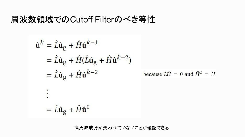 周波数領域でのCutoff Filterのべき等性 高周波成分が失われていないことが確認できる