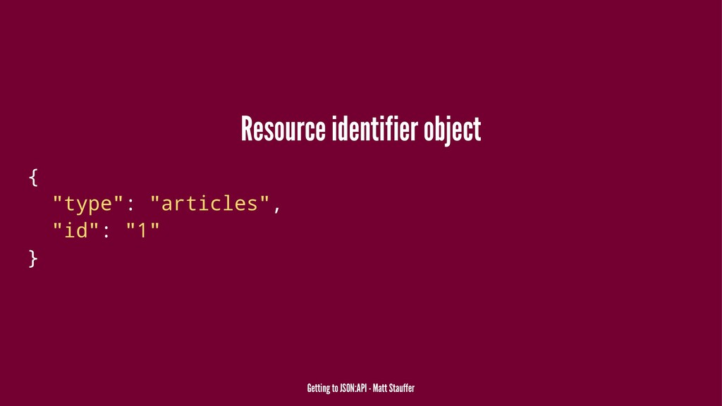"Resource identifier object { ""type"": ""articles""..."