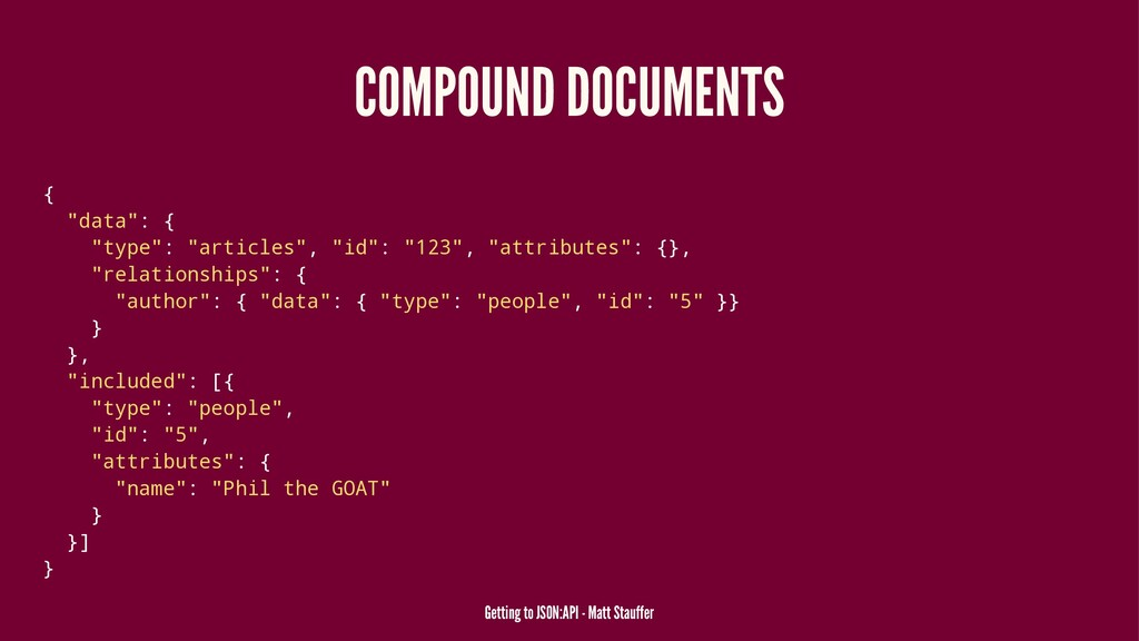 "COMPOUND DOCUMENTS { ""data"": { ""type"": ""article..."