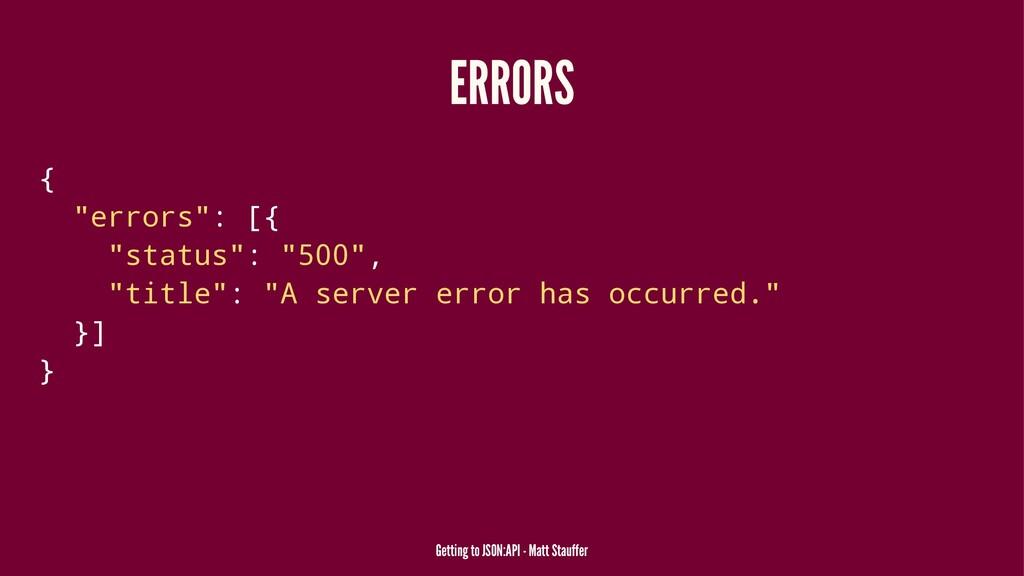"ERRORS { ""errors"": [{ ""status"": ""500"", ""title"":..."