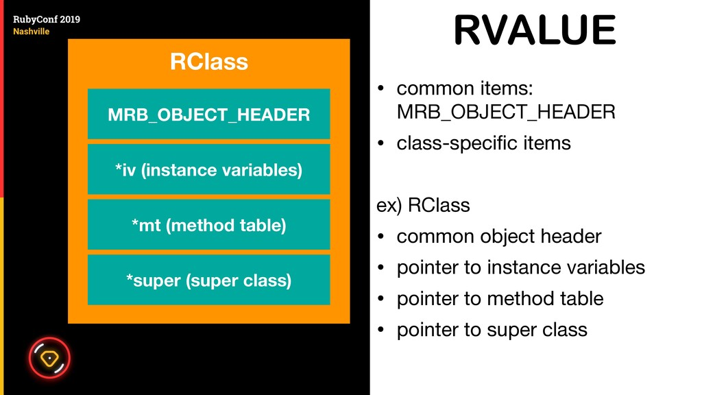 RVALUE • common items: MRB_OBJECT_HEADER  • cla...