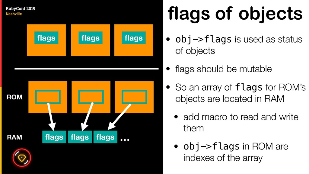 flags of objects • obj->flags is used as status...