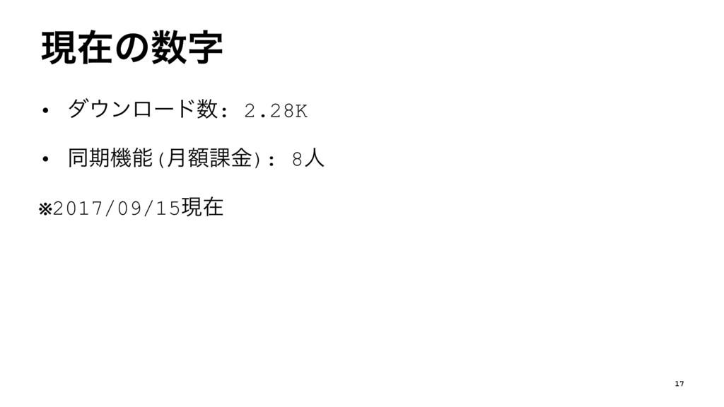 ݱࡏͷ • μϯϩʔυ: 2.28K • ಉظػ(ֹ݄՝ۚ): 8ਓ ※2017/0...