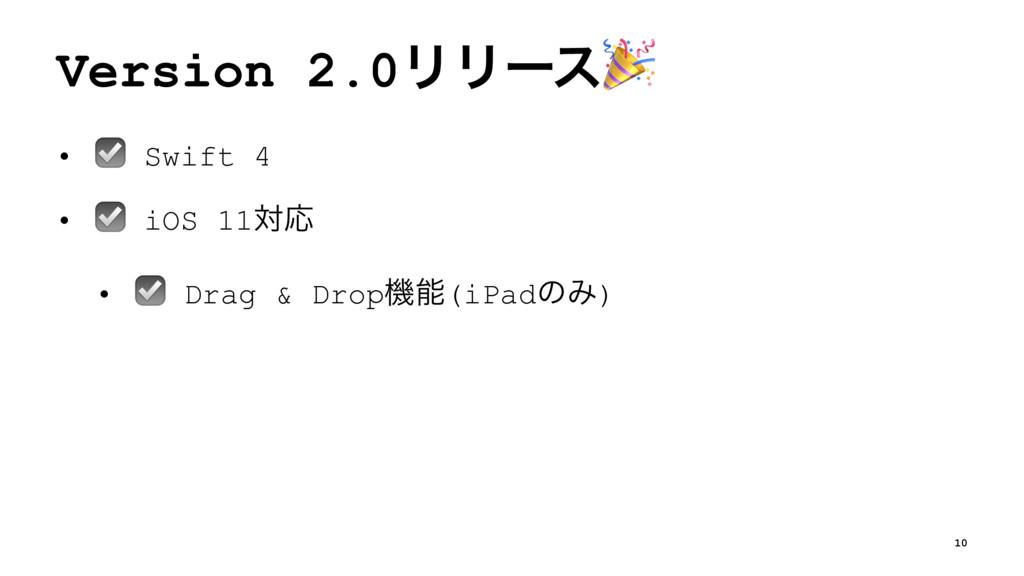 Version 2.0ϦϦʔε! • ☑ Swift 4 • ☑ iOS 11ରԠ • ☑ D...