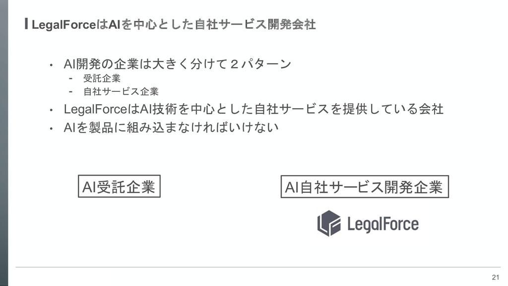 21 LegalForceはAIを中心とした自社サービス開発会社 • AI開発の企業は大きく分...
