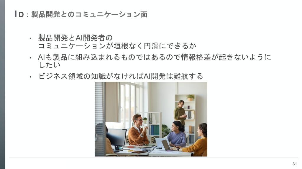 31 D:製品開発とのコミュニケーション面 • 製品開発とAI開発者の コミュニケーションが垣...