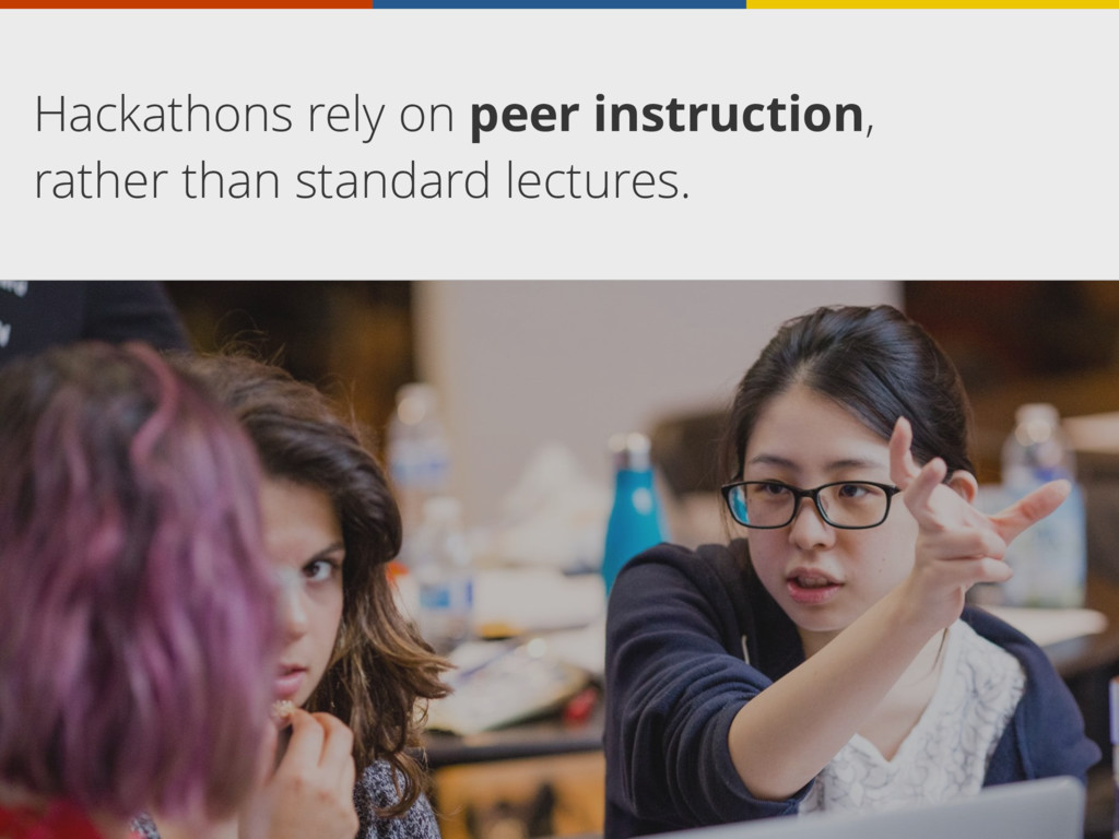 Hackathons rely on peer instruction, rather tha...
