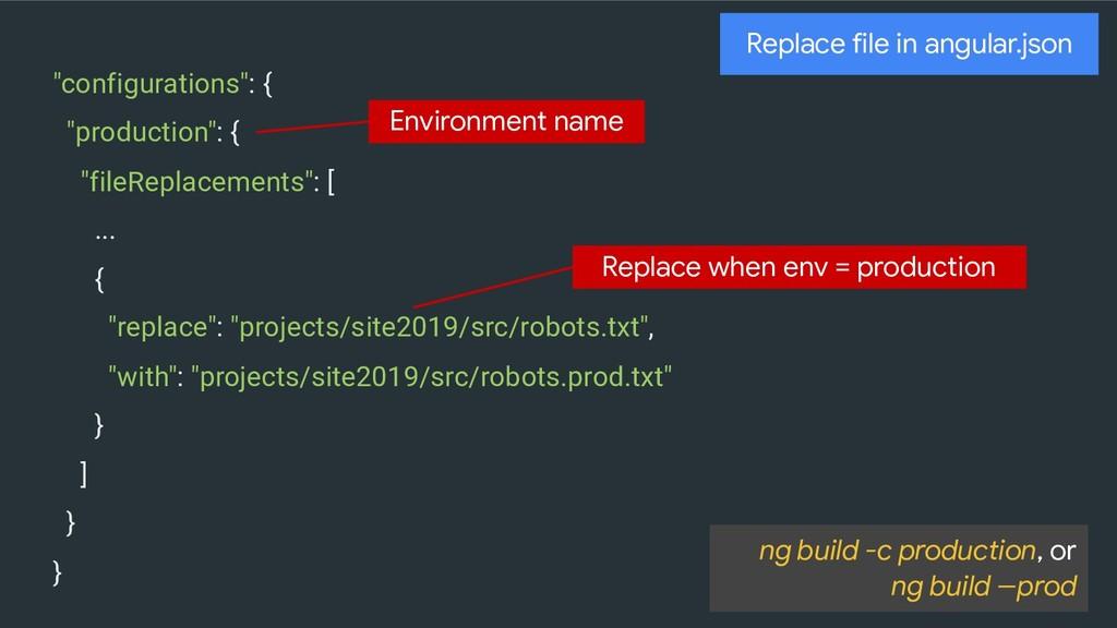 """configurations"": { ""production"": { ""fileReplac..."