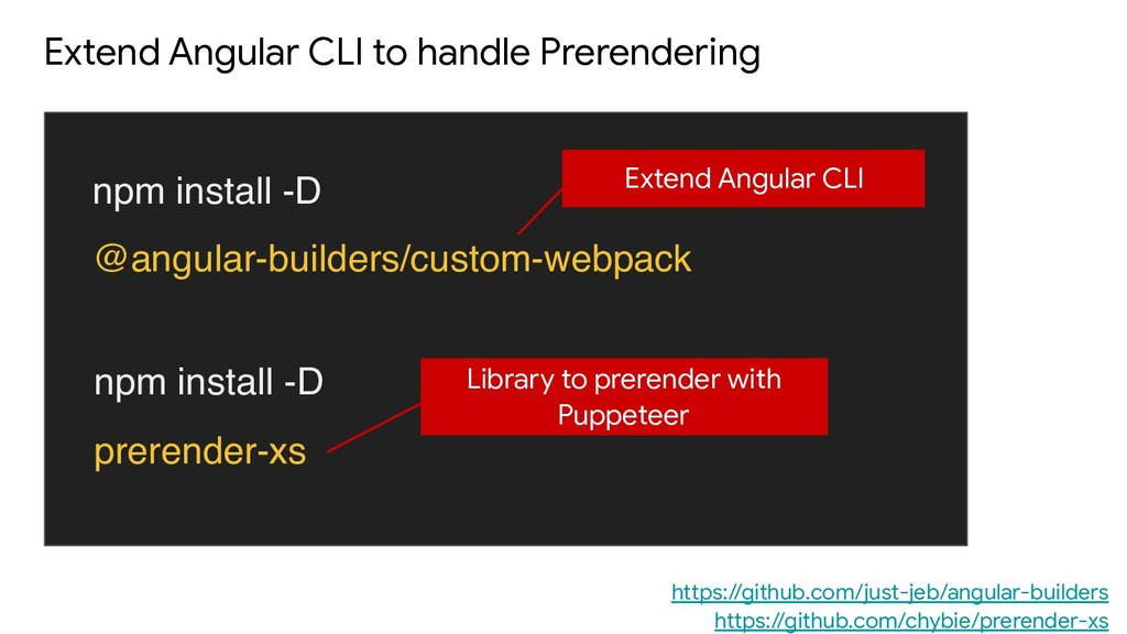Extend Angular CLI to handle Prerendering npm i...