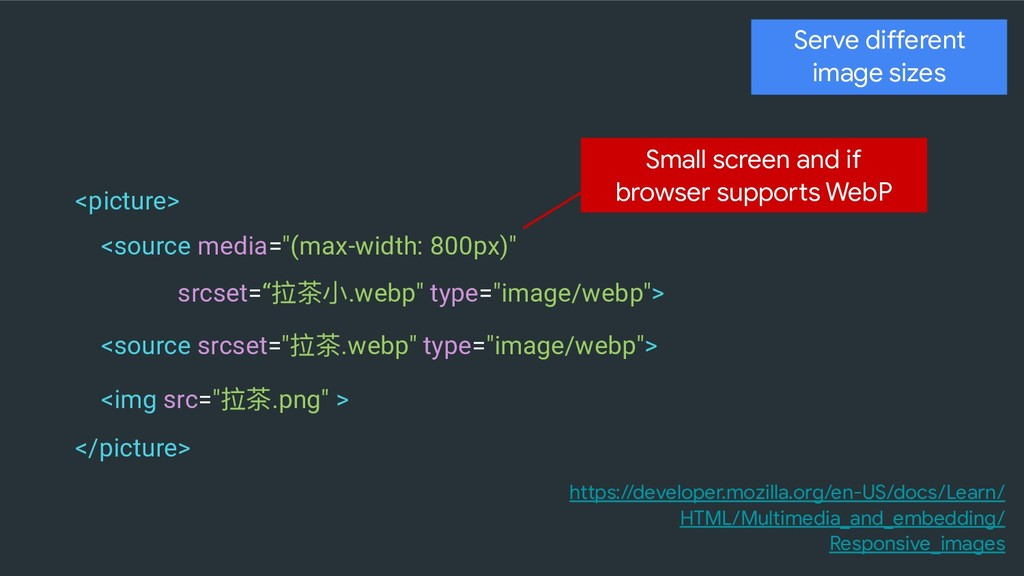 Serve different image sizes <picture> <source m...