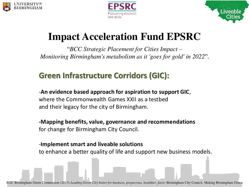 "Impact Acceleration Fund EPSRC ""BCC Strategic P..."