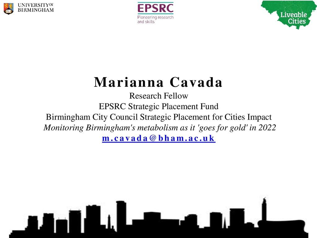 Marianna Cavada Research Fellow EPSRC Strategic...