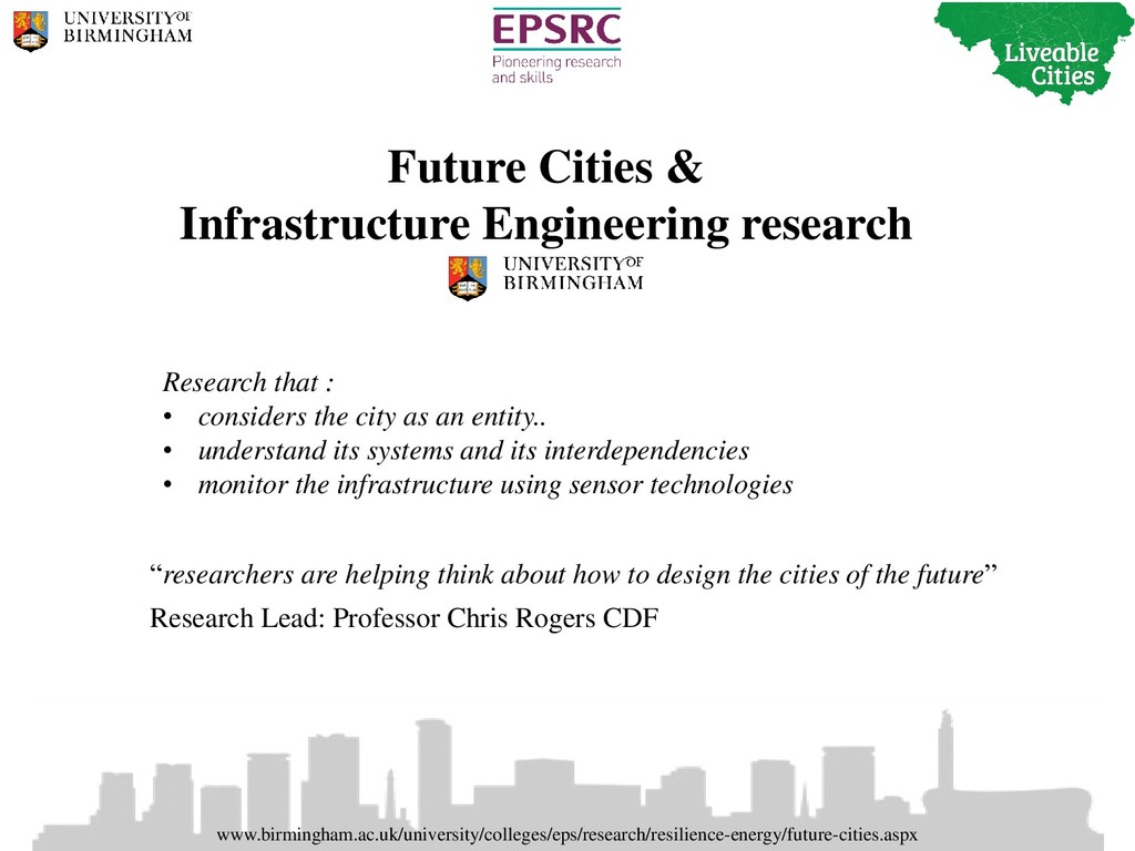 Future Cities & Infrastructure Engineering rese...