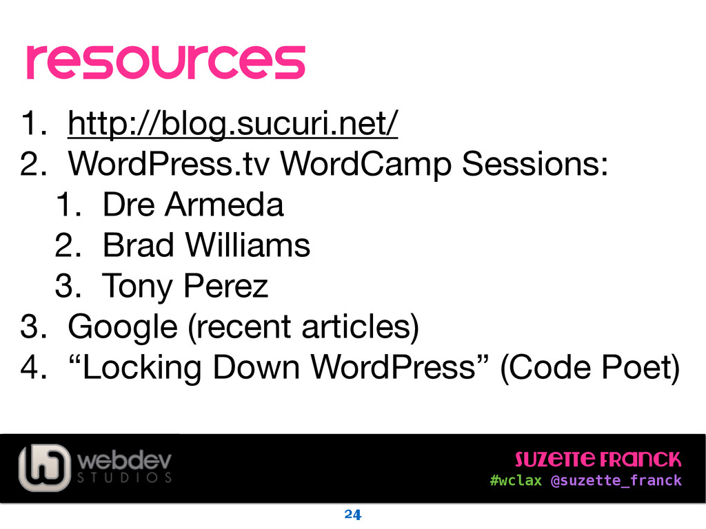 Suzette Franck #wclax @suzette_franck resource...