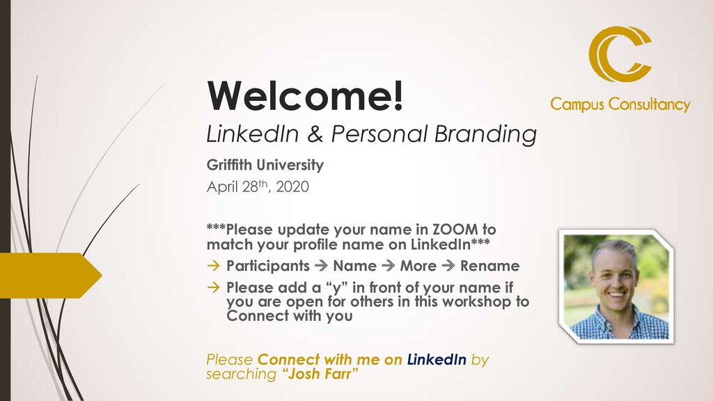 Welcome! LinkedIn & Personal Branding Griffith ...