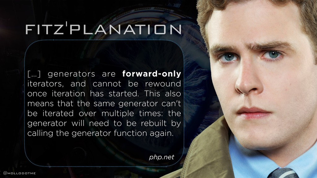 FITZ'PLANATION […] generators are forward-only ...