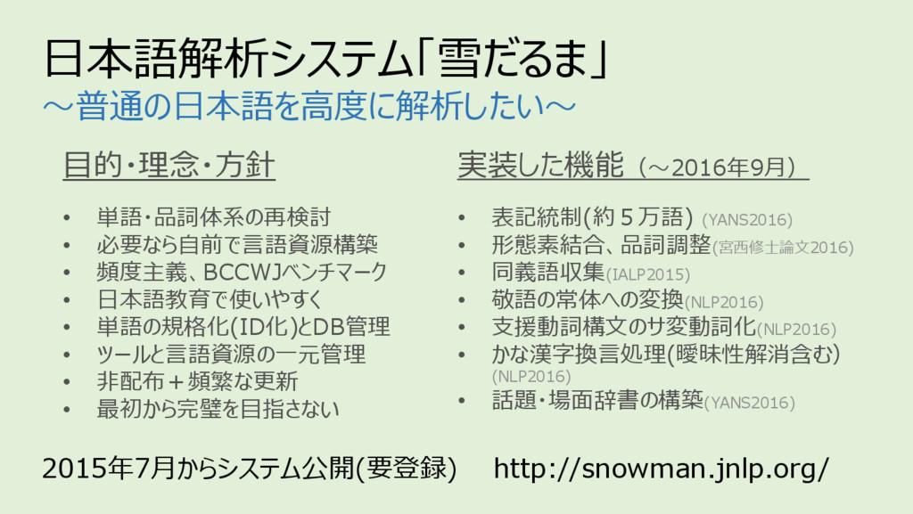 2015年7⽉からシステム公開(要登録) http://snowman.jnlp.org/ ⽬...
