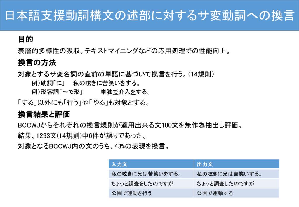 日本語支援動詞構文の述部に対するサ変動詞への換言 目的 表層的多様性の吸収。テキストマイニング...