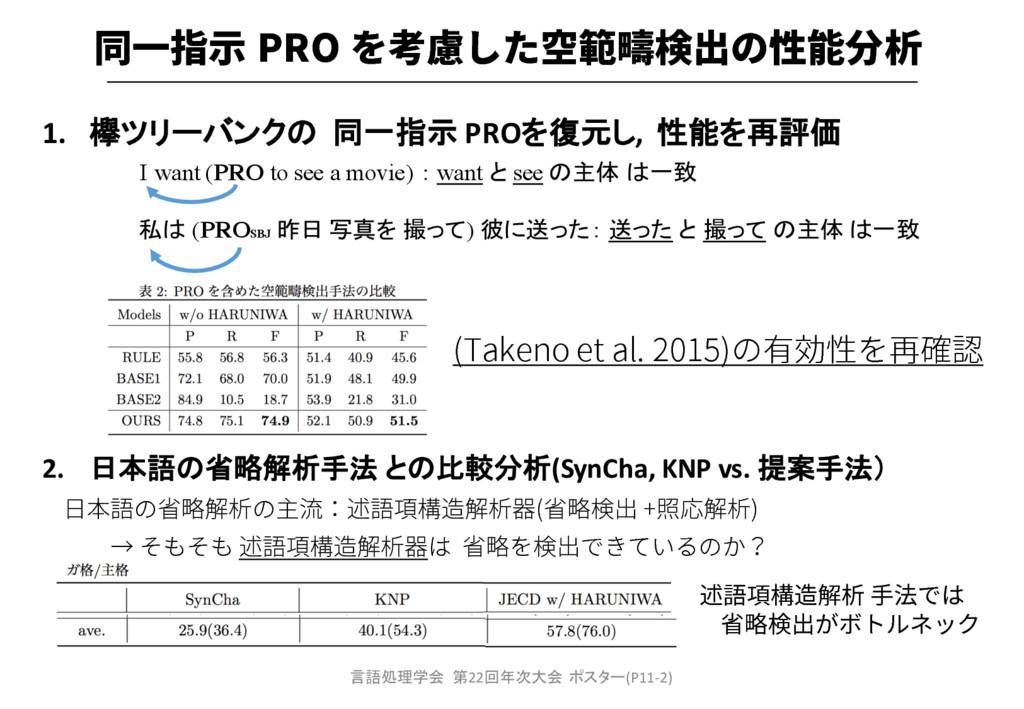 1. 欅ツリーバンクの 同一指示 PROを復元し, 性能を再評価 2. 日本語の省略解析手法 ...