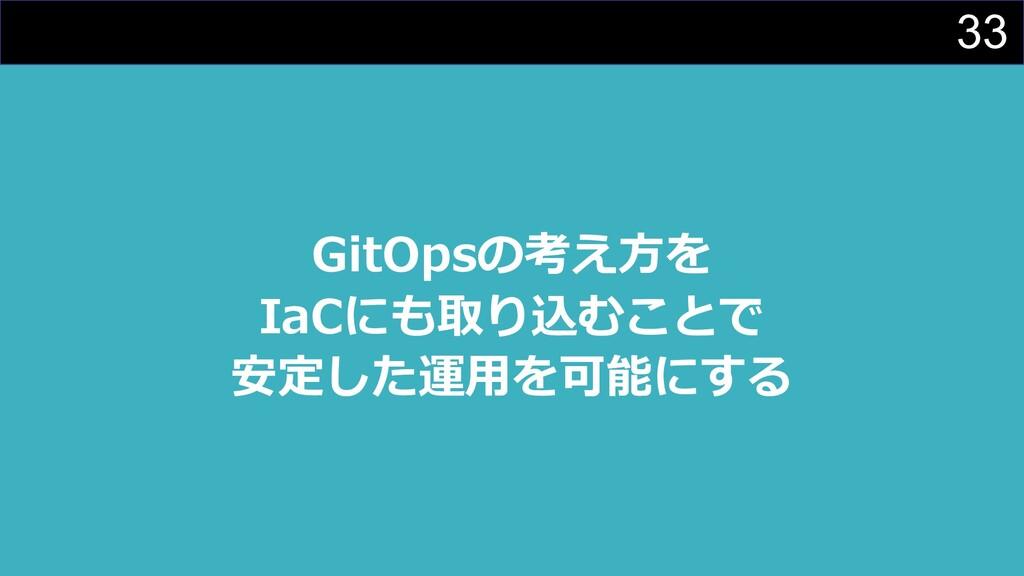 33 GitOpsの考え⽅を IaCにも取り込むことで 安定した運⽤を可能にする