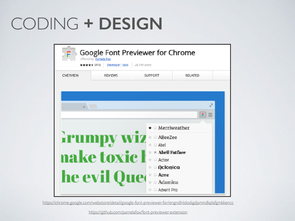 CODING + DESIGN https://chrome.google.com/webst...