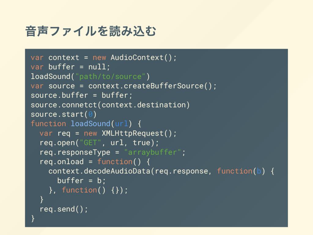 音声ファイルを読み込む var context = new AudioContext(); v...