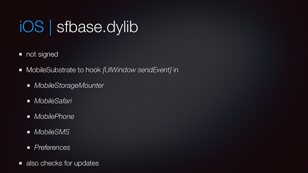 iOS | sfbase.dylib not signed MobileSubstrate t...