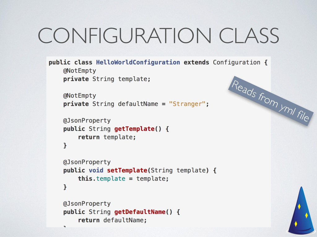CONFIGURATION CLASS Reads from yml file