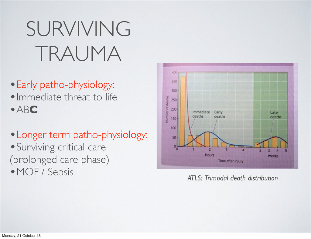 SURVIVING TRAUMA •Early patho-physiology: •Imme...