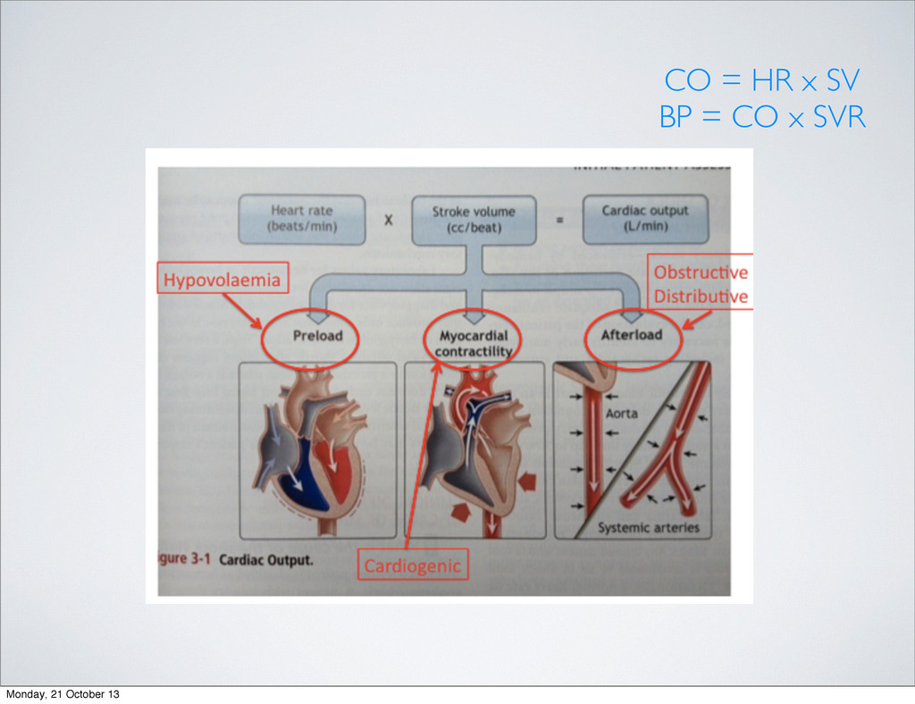 CO = HR x SV BP = CO x SVR Monday, 21 October 13