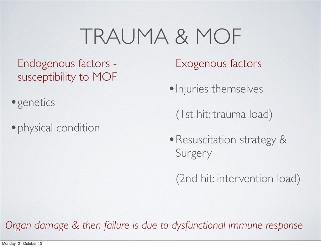 TRAUMA & MOF Endogenous factors - susceptibilit...