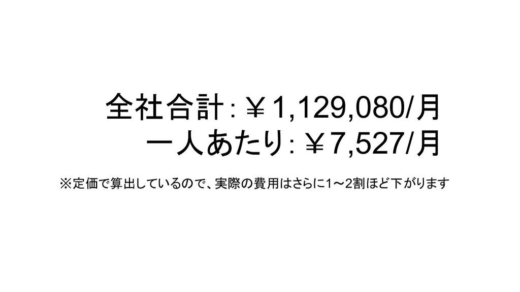 全社合計:¥1,129,080/月 一人あたり:¥7,527/月 ※定価で算出しているので、実...