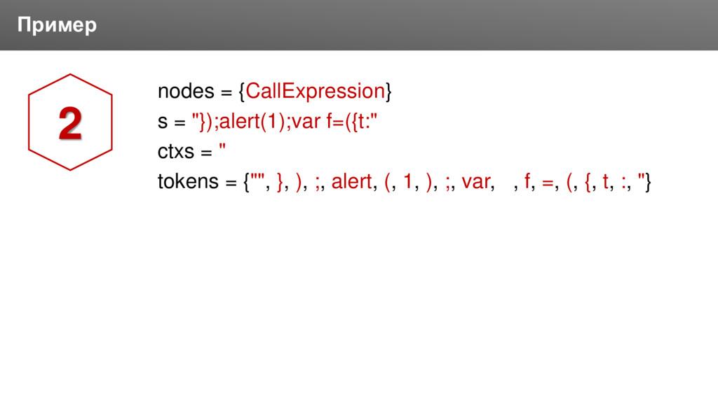 "Заголовок Пример nodes = {CallExpression} s = ""..."